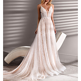 A-Line Wedding Dresses Spaghetti Strap Plunging Neck Short / Mini Lace Tulle Sleeveless Beach Sexy See-Through Plus Size with Beading 2020
