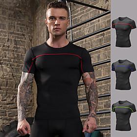 Men's Running Shirt Color Block Black / Red Black / Green Black / Blue Elastane Yoga Running Fitness Tee / T-shirt Short Sleeve Sport Activewear Breathable Com