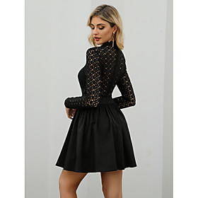 Women's A-Line Dress Short Mini Dress - Long Sleeve Solid Color Zipper Spring Summer Elegant Vintage Going out Puff Sleeve 2020 White Black Blushing Pink S M L
