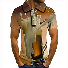 Men's 3D Graphic Polo Basic Daily Shirt Collar Khaki / Short Sleeve
