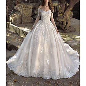 Ball Gown Wedding Dresses Off Shoulder Sweep / Brush Train Lace Tulle Long Sleeve Formal Sexy Illusion Sleeve with Embroidery 2020