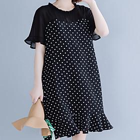 Women's A Line Dress - Short Sleeves Polka Dot Ruffle Spring Summer Casual Street chic Daily Holiday Loose 2020 Black XL XXL XXXL XXXXL