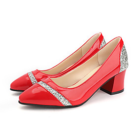 Women's Heels Summer Block Heel Pointed Toe Daily Sequin PU Black / Silver / Light Red / Black