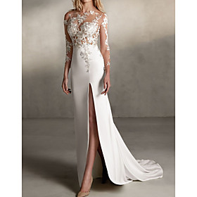 Mermaid / Trumpet Wedding Dresses Jewel Neck Sweep / Brush Train Lace Tulle Stretch Satin Long Sleeve Sexy See-Through with Sashes / Ribbons Embroidery Appliqu
