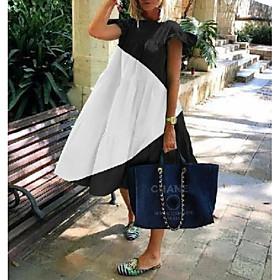 Women's Shift Dress - Short Sleeves Color Block Summer Elegant Loose 2020 Black Blushing Pink Green S M L XL XXL
