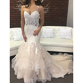 Mermaid / Trumpet Wedding Dresses Spaghetti Strap Sweep / Brush Train Lace Tulle Sleeveless Sexy Backless with Embroidery Appliques Cascading Ruffles 2020