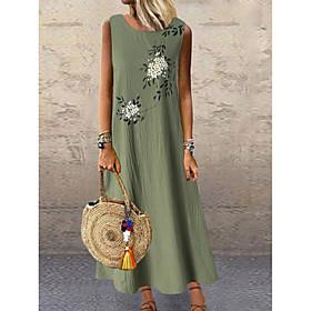 Women's A-Line Dress Maxi long Dress - Sleeveless Floral Print Summer Plus Size Hot Holiday Loose 2020 Green Gray M L XL XXL 3XL 4XL 5XL