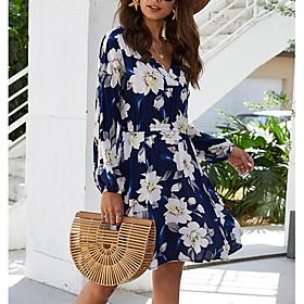 Women's A Line Dress - Long Sleeve Floral Summer V Neck Elegant Slim 2020 Blushing Pink Navy Blue S M L XL