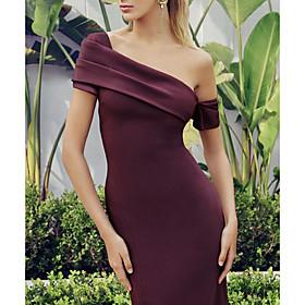 Mermaid / Trumpet Elegant Reformation Amante Party Wear Cocktail Party Dress One Shoulder Short Sleeve Knee Length Nylon with Split 2020