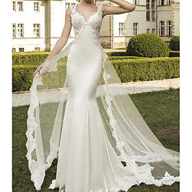 Mermaid / Trumpet Wedding Dresses V Neck Sweep / Brush Train Satin Tulle Sleeveless Formal with Embroidery 2020