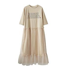 Women's Asymmetrical A Line Dress - Sleeveless Letter Mesh Summer Fall Casual Holiday Going out 2020 Khaki Gray S M L XL XXL XXXL