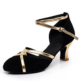 Women's Modern Shoes Heel Cuban Heel Suede Black / Performance / Practice