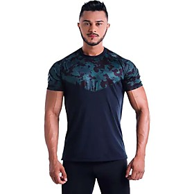 Men's Mesh Running T-Shirt Workout Shirt Round Neck Active Training Fitness Jogging Breathable Soft Sportswear Camo / Camouflage Tee / T-shirt Top Long Sleeve