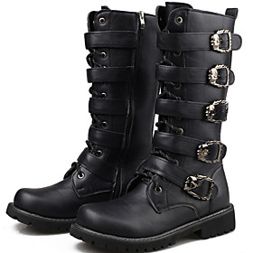Men's Boots Demonia Boots Work Boots Daily Leather Mid-Calf Boots Black Fall  Winter