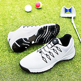 Men's Golf Shoes Waterproof Shock Absorption Breathable Anti-Slip Golf Outdoor Exercise Spring, Fall, Winter, Summer White Black
