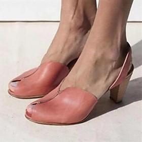Women's Sandals Summer Cone Heel Open Toe Daily PU Light Yellow / Light Brown / Red