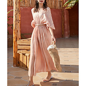 Women's Maxi Sundress Dress - Half Sleeve Solid Color Summer V Neck Elegant 2020 Blushing Pink S M L XL