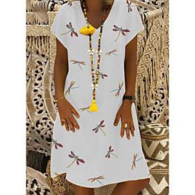 Women's Shift Dress Knee Length Dress - Short Sleeves Floral Summer Casual 2020 White Blue Yellow Khaki S M L XL XXL XXXL