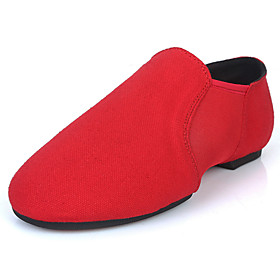 Women's Ballet Shoes Flat Thick Heel Canvas Elastic Fabric Black / Red / Camel / Performance / Practice