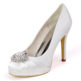 Women's Wedding Shoes Spring / Summer Stiletto Heel Round Toe Minimalism Wedding Party  Evening Rhinestone Solid Colored Satin White / Black / Purple