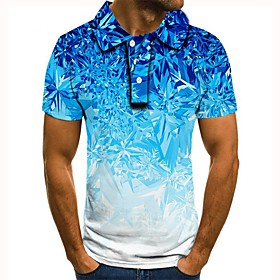 Men's 3D Graphic Polo Basic Daily Shirt Collar Blue / Purple / Red / Yellow / Army Green / Green / Gray / Short Sleeve