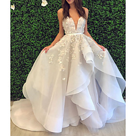 Ball Gown Wedding Dresses V Neck Spaghetti Strap Sweep / Brush Train Lace Organza Sleeveless Formal with Appliques Cascading Ruffles 2020