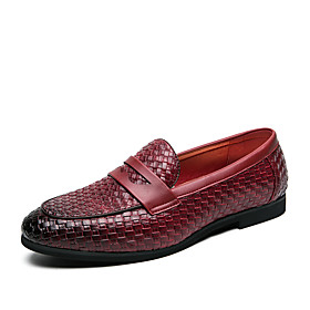 Men's Spring / Fall Casual / British Wedding Party  Evening Loafers  Slip-Ons Walking Shoes Faux Leather Non-slipping Black / Burgundy