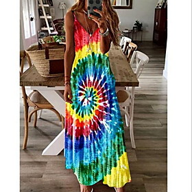Women's A-Line Dress Maxi long Dress - Sleeveless Geometric Summer Casual 2020 Blue Purple Red Light Green Navy Blue S M L XL XXL XXXL XXXXL XXXXXL