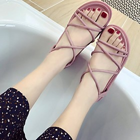 Women's Sandals Summer Creepers Open Toe Daily PU Black / Pink