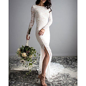 Mermaid / Trumpet Wedding Dresses Jewel Neck Sweep / Brush Train Lace Long Sleeve Sexy with Split Front 2020