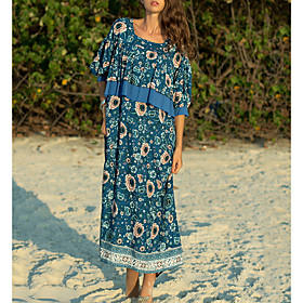 Women's Maxi Sundress Dress - Half Sleeve Print Summer Casual Loose 2020 Blue M L XL XXL
