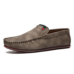 Men's Fall Casual / British Daily Outdoor Loafers  Slip-Ons PU Breathable Non-slipping Wear Proof Black / Khaki / Brown
