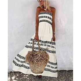 Women's A-Line Dress Maxi long Dress - Sleeveless Geometric Summer Elegant 2020 White S M L XL XXL