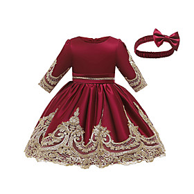 Toddler Girls' Vintage Sweet Jacquard Solid Colored Bow Embroidered Lace Trims Above Knee Dress Wine