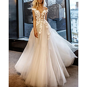 A-Line Wedding Dresses Off Shoulder Sweep / Brush Train Lace Tulle Short Sleeve Vintage Sexy Wedding Dress in Color See-Through with Embroidery Appliques 2020