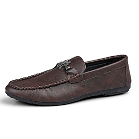 Men's Summer / Fall Classic / British Daily Office  Career Loafers  Slip-Ons Walking Shoes Nappa Leather White / Black / Brown