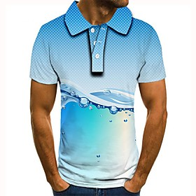 Men's 3D Graphic Polo Basic Daily Shirt Collar Light Blue / Short Sleeve