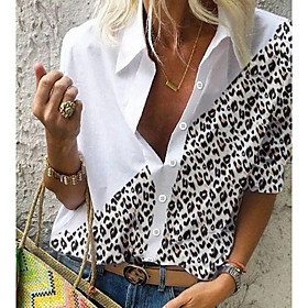 Women's Blouse Shirt Leopard Color Block Cheetah Print Long Sleeve Shirt Collar Tops Basic Top White Black Brown