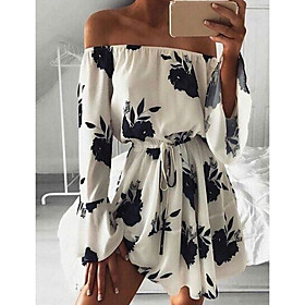 Women's A Line Dress - 3/4 Length Sleeve Print Summer Sexy Chinoiserie 2020 White Black Blue S M L XL