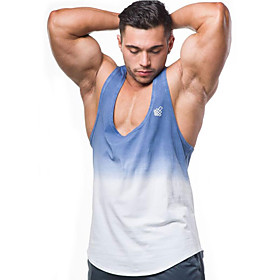 Men's Cotton Running Tank Top Workout Tops Singlet Active Training Fitness Jogging Breathable Quick Dry Soft Sportswear Color Gradient Top Sleeveless Activewea