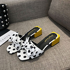 Women's Sandals Summer Block Heel Open Toe Daily Canvas White / Black