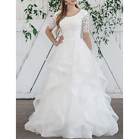 Ball Gown Wedding Dresses Jewel Neck Sweep / Brush Train Lace Organza Short Sleeve Vintage with Cascading Ruffles 2020