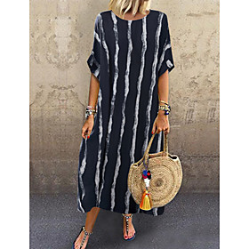 Women's Swing Dress Knee Length Dress - Short Sleeves Striped Spring Summer Casual Daily 2020 White Black One-Size