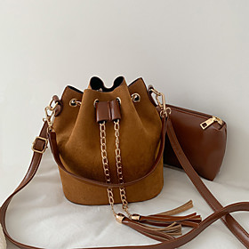 Women's Tassel / Chain Polyester / PU Bag Set Solid Color 2 Pieces Purse Set Dark Brown / Red / Brown
