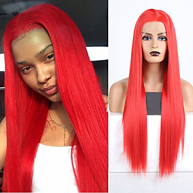 Synthetic Lace Front Wig Natural Straight Silky Straight Middle Part Lace Front Wig Long Red Synthetic Hair 18-24 inch Women's Cosplay Heat Resistant Party Red