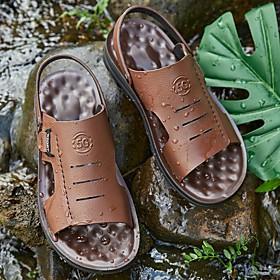 Men's Summer Outdoor Sandals PU Non-slipping Black / Brown