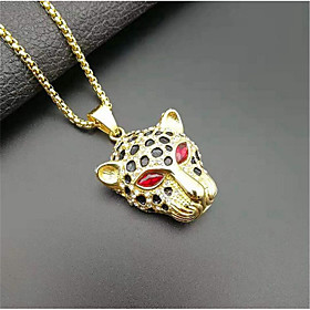 Men's Pendant Necklace Classic Flower Fashion Titanium Steel Imitation Diamond Red Green 50 cm Necklace Jewelry 1pc For