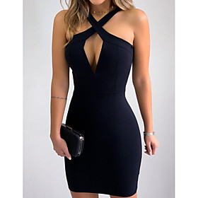 Women's Bodycon Dress - Long Sleeve Solid Color Patchwork Summer V Neck Sexy Skinny 2020 Black S M L XL XXL