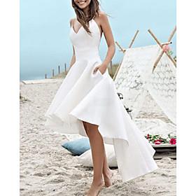 A-Line Wedding Dresses V Neck Spaghetti Strap Asymmetrical Satin Sleeveless Simple Little White Dress 1950s with Pleats 2020