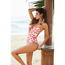 Women's Basic Cheetah Print Tankini One-piece Swimsuit Backless Criss Cross Leopard Plunging Neck Swimwear Bathing Suits White Red